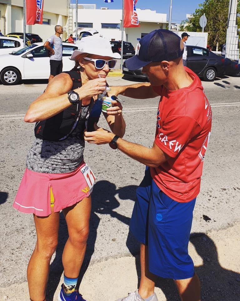 Showcasing my custard eating skills at Spartathlon 2019