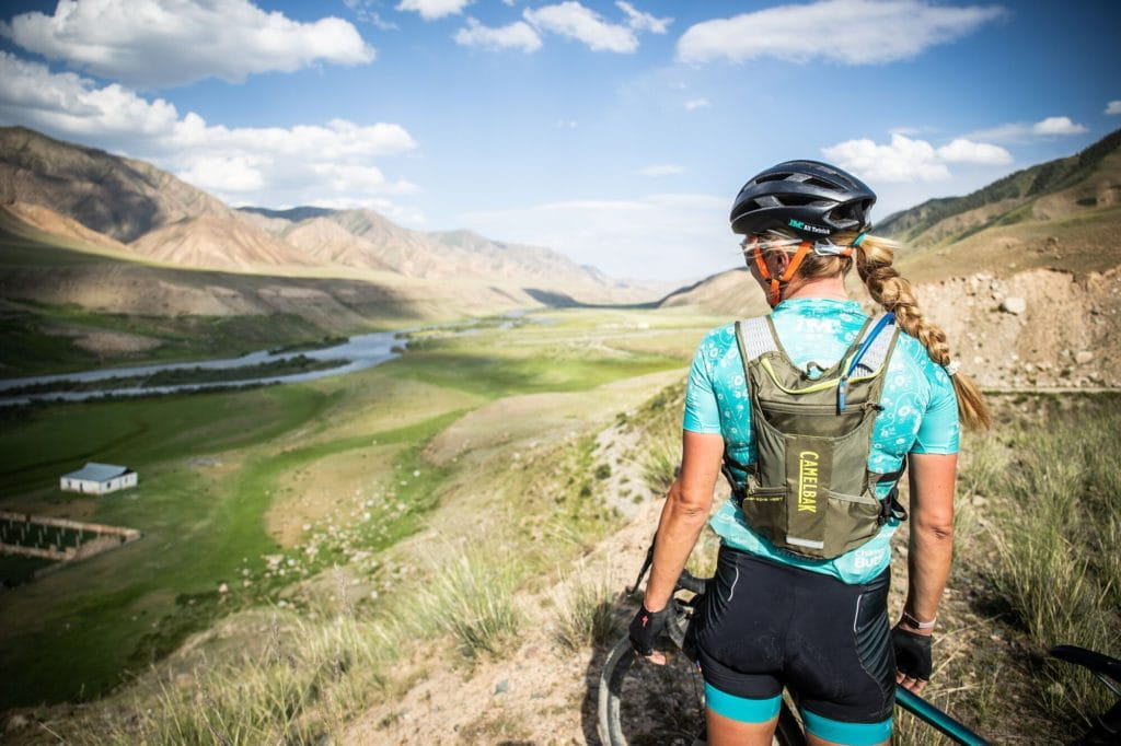 Alison Tetrick bikepacking with Camelbak Chase Vest in Kyrgyzstan