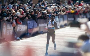 Aliphine Tuliamuk winning the Olympic Trials marathon (Paul Ward photo)