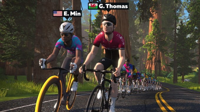 Eric Min racing in Zwift