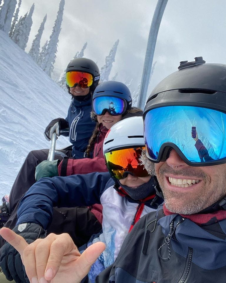 Jeremy Jones family on chairlift