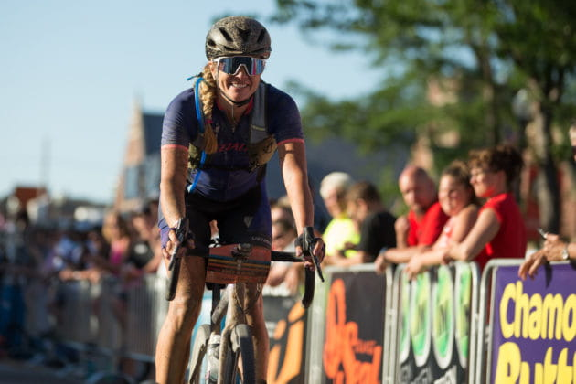 Alison Tetrick on her Specialized gravel bike finishing a race