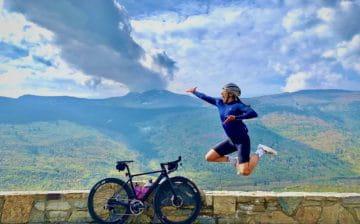 Cyclist Jess Cerra and her bike