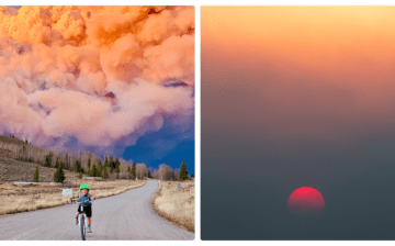 Prokit image of boy riding bike with Troublesome Fire growing in Granby, CO
