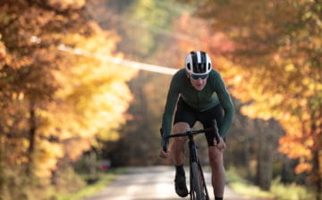 Ted King riding gravel in fall in Vermont