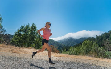 Pro triathlete Sarah Piampiano trail running in Marin, California