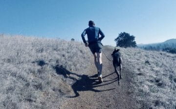 Mario Fraioli running with his dog, Tahoe