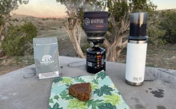 My coffee, jetboil, aeropress and piece of quiona apple pie with the Fruita Desert in the Background