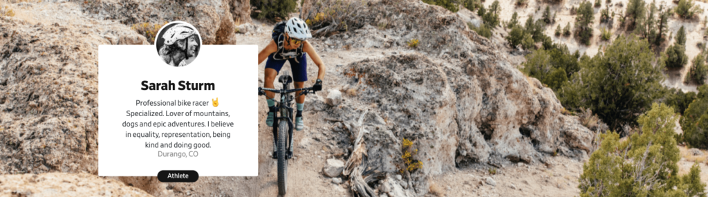 Pro cyclist Sarah Sturm riding singletrack in the mountains on her mountain bike