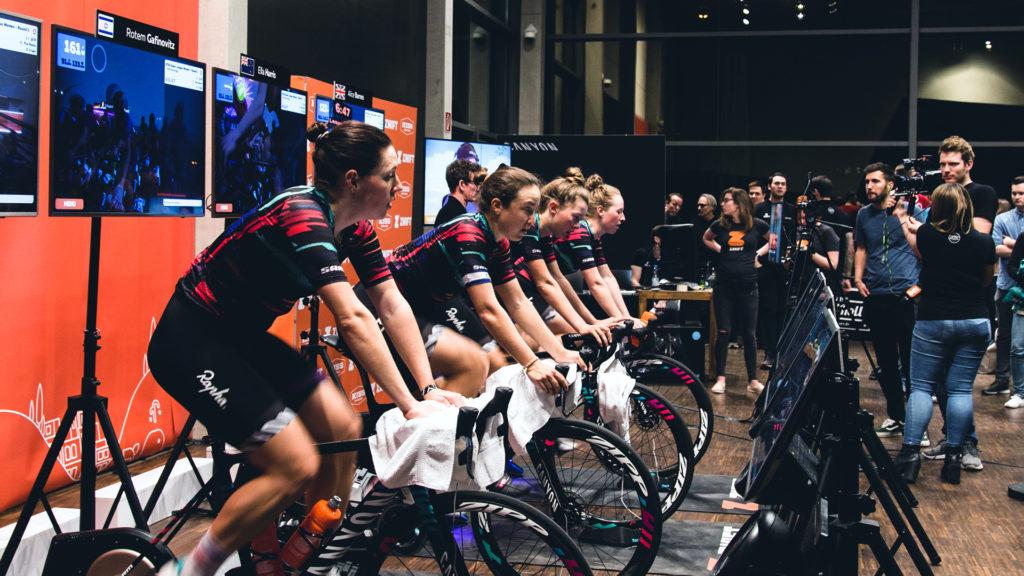 Women cyclists riding for Zwift League Canyon SRAM