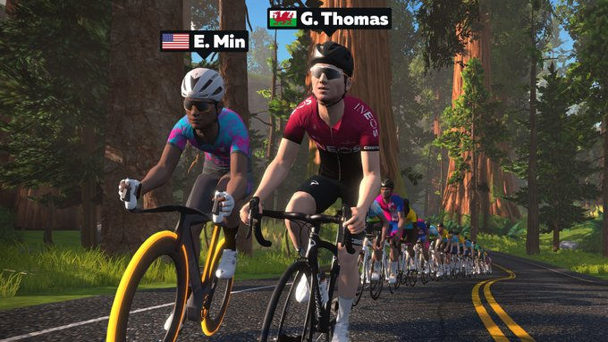 Tour de France Champ and  Olympic medalist Geraint Thomas alongside Zwift CEO Eric Min for a ride on Zwift