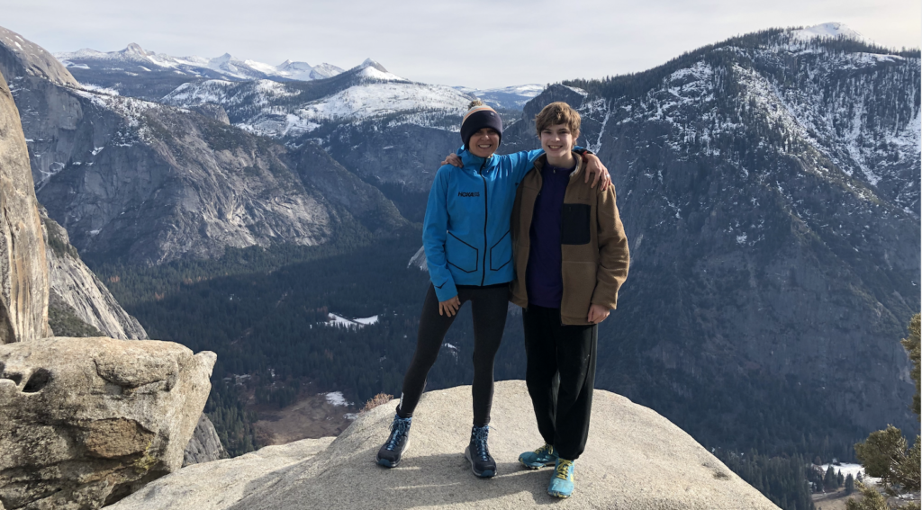 Magdalena Boulet hiking in Yosemite with her son