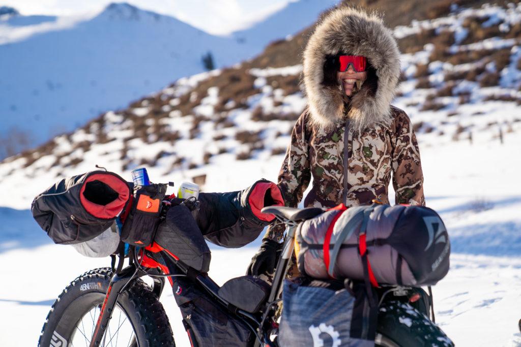 Rebecca Rusch with her fat bike at the Iditarod Trail Invitational in 2020