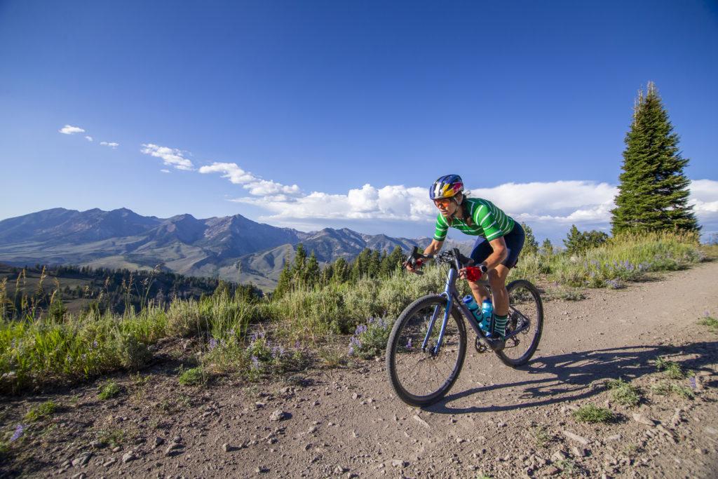 Rebecca Rusch on her gravel bike in Idaho
