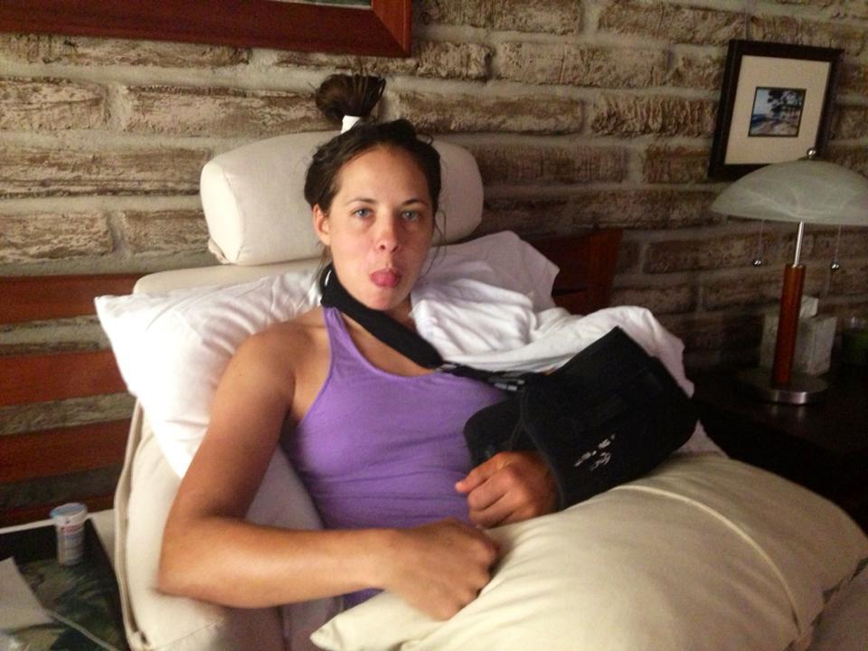 Cyclist Jess Cerra after surgery