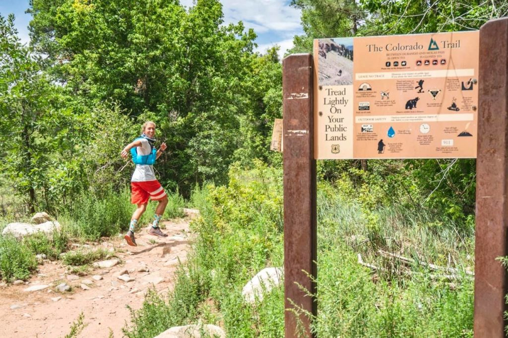 Courtney Dauwalter at the start of her Colorado Trail FKT attempt on August 5, 2020.