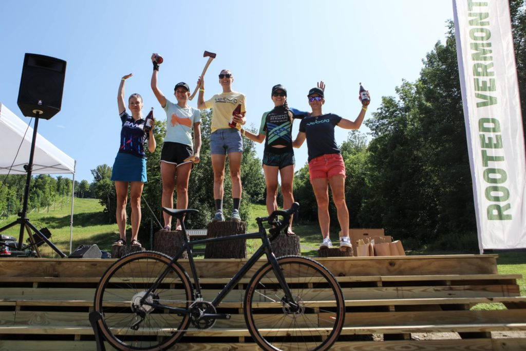 Jess Cerra on the podium of the 2019 Rooted Vermont gravel bike event