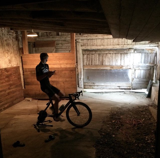 Ian Boswell on his Wahoo trainer in his barn