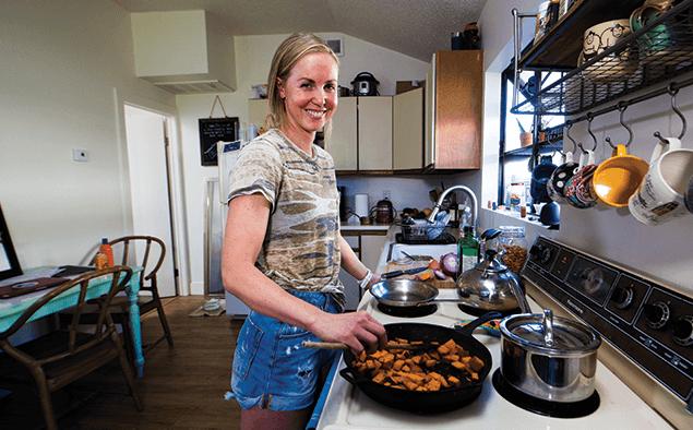 Triathlete Chelsea Sodaro cooking
