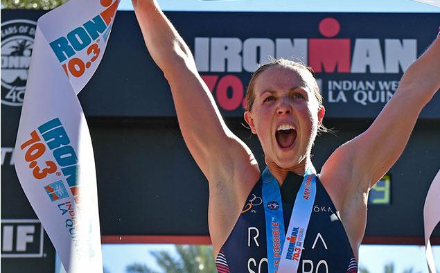 Chelsea Sodaro triathlon finish line winning