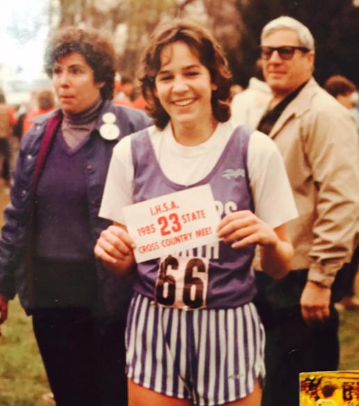 Rebecca Rusch running cross country in high school